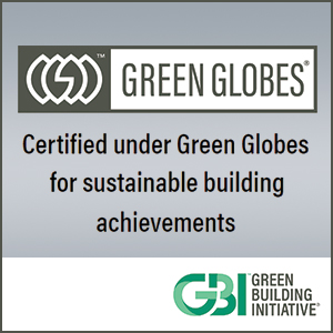 Green building initiative logo for Bellrock Upper North in Haltom City, Texas